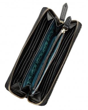 BLACK  ペイズリー型押 レザー長財布見る