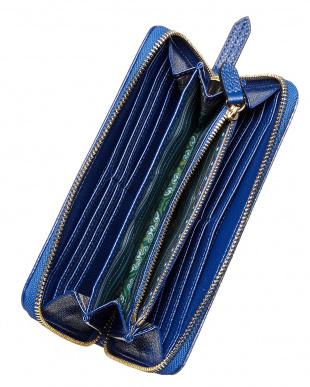 BLUE  ペイズリー型押 レザー長財布見る