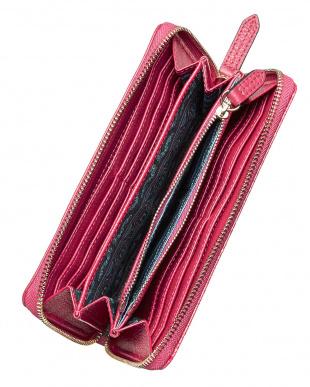 PINK  ペイズリー型押 レザー長財布見る