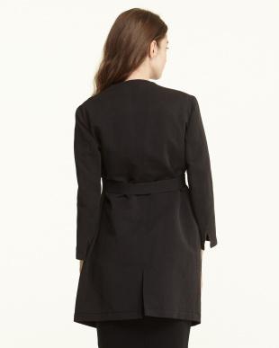 ブラック  ベルト付き リネンコットンノーカラーコート見る