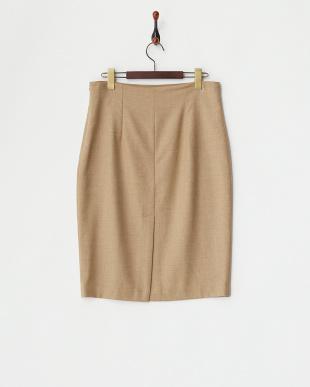 ベージュ ウール混タイトスカート見る