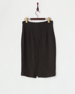 ブラック ウールナイロンストレッチタイトスカート見る