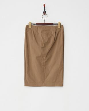 カーキベージュ ボタン付きスリットスカート見る
