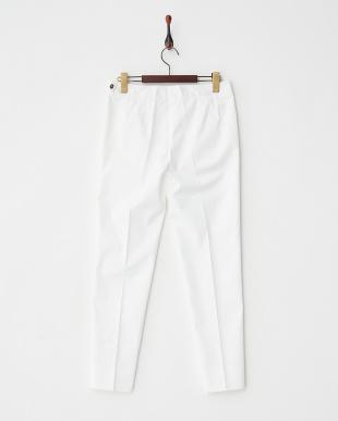 ホワイト 裾スリットテーパードパンツ見る