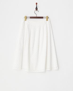ホワイト  スクエアレースタックフレアスカート見る
