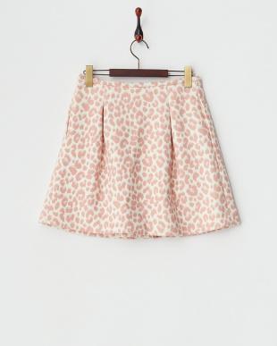 PNK レオパードタックフレアスカート見る
