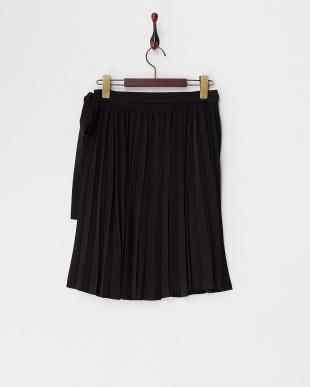 ブラック  PEデシンプリーツラップスカート見る