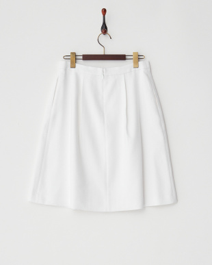 ホワイト リネンレーヨンツイルタック入りフレアスカート見る