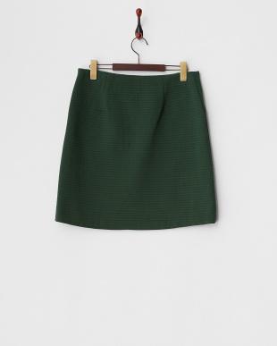 グリーン  綿混リップルジャージー台形スカート見る