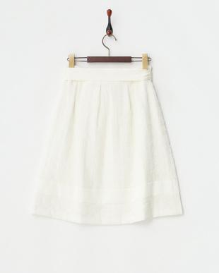 ホワイト ウエストリボン付きウール混チェックフレアスカート見る