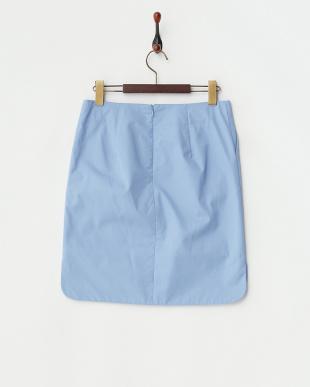 ブルー  コンパクトコットン裾サイドラウンドスカート見る