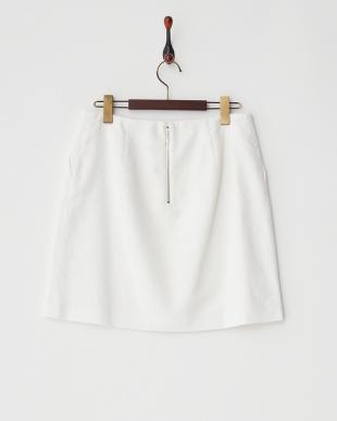 ホワイト  リネンコットン台形スカート見る