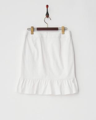 ホワイト シルキーストレッチ裾フレア切り替えスカート見る
