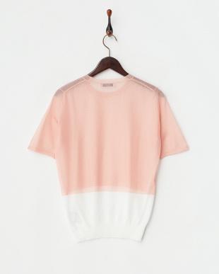 ピンク  裾切り替えシアーニットプルオーバー見る