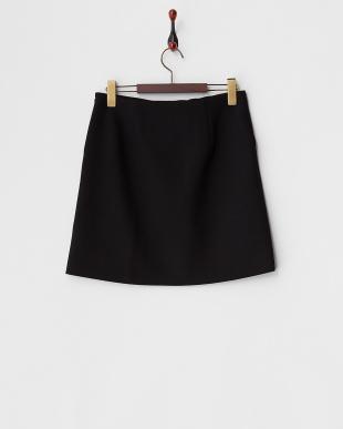 ブラック ウール二重織台形スカート見る