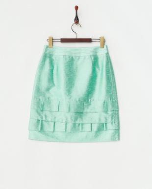 グリーン ブライトソアロン裾ティアードスカート見る