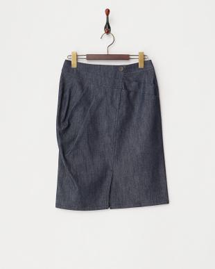 ネイビーブルー  ツイルシェルタリングタイトスカート見る