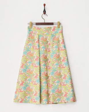 ピンク プルメリアフレアスカート見る
