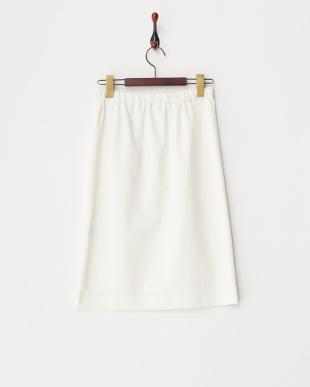 ホワイト シルキーコードウェイ ストレートスカート見る