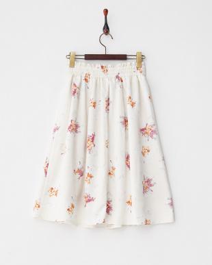 オフホワイト  フラワープリントタックフレアスカート見る