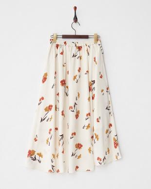 オフホワイト  フラワープリントバックテールスカート見る