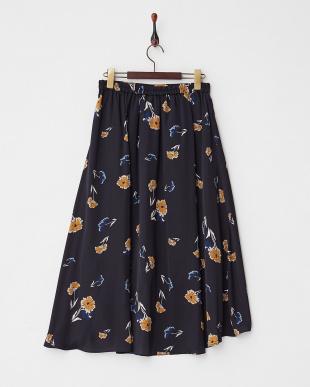 ネイビー  フラワープリントバックテールスカート見る