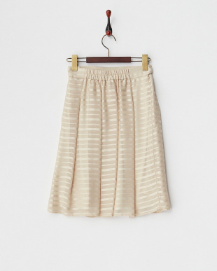 ベージュ  シャドーボーダー タックプリーツスカート見る
