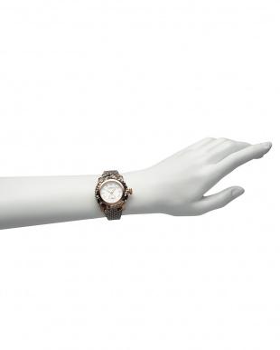 シルバー×ナチュラル MIAMI Palm Beach パイソンレザーベルト腕時計見る