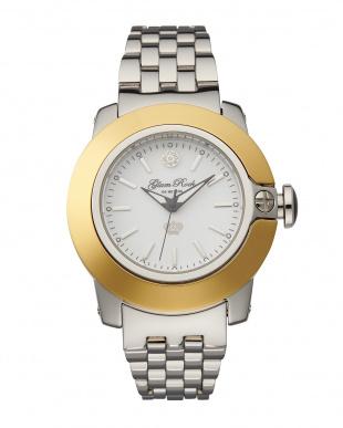 ホワイト×シルバー SOBE ダイヤカバー×ステンレスブレス腕時計見る