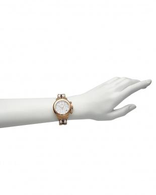 シルバー×ピンク  BAL HARBOUR 2リンクブレス腕時計見る