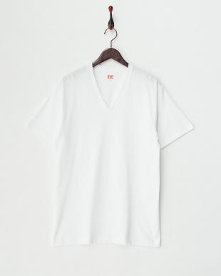 ホワイト  VネックTシャツ2枚組見る