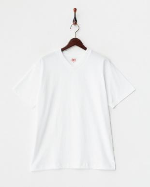 ホワイト 吸水速乾 浅VネックTシャツ 2枚組見る