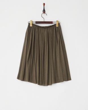 KHAKI  テンセル混ギャザーフレアスカート見る