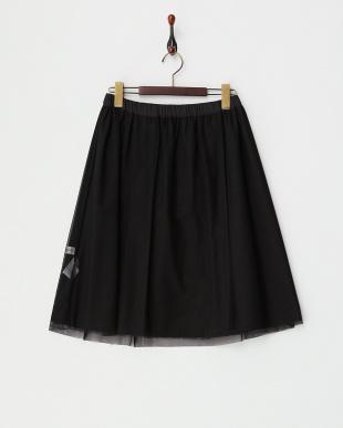 ブラック  リバーシブルチュールスカート見る