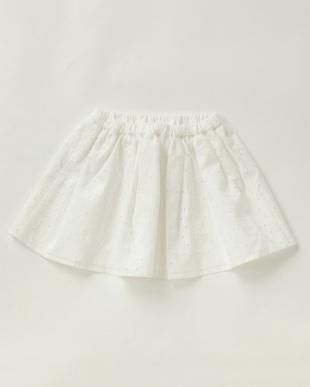 ホワイト  カットワークレーススカート|女児見る