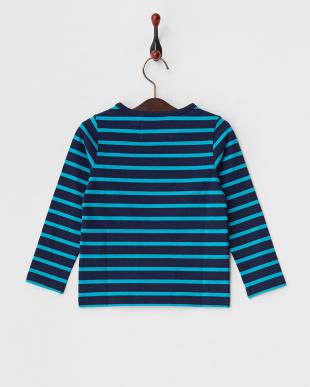 ブルー×ネイビー  ボーダー長袖Tシャツ見る