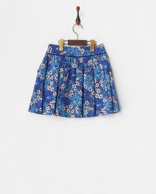 青  フラワープリントスカート見る