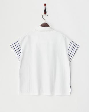 ホワイト  衿付き半袖プルオーバー見る