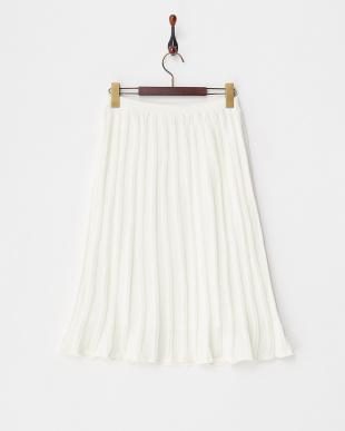 white  透かしストライプニットスカートスカート見る