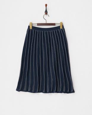 navy  透かしストライプニットスカートスカート見る
