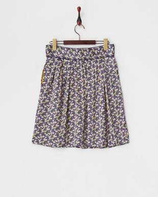 パープル フラワープリントシルクサテンスカート見る