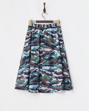 ブルー  カモフラ×ストライプギャザースカート|Khaju見る