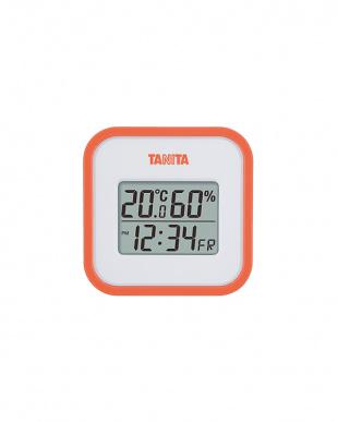 オレンジ  デジタル温湿度計 TT-558見る