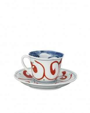 古代赤絵兎 コーヒー碗皿見る