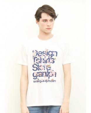 ホワイト Tシャツ サクラ タテロゴ見る