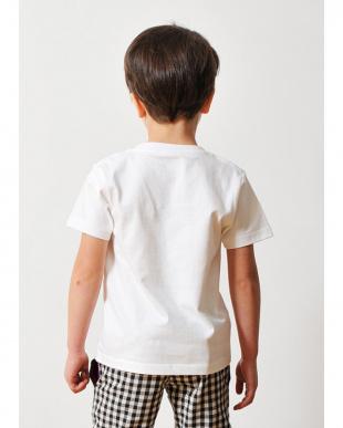 ホワイト キッズTシャツ ライン ラウンド タテロゴ見る