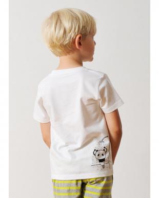 ホワイト キッズTシャツ パンダ スイミング見る