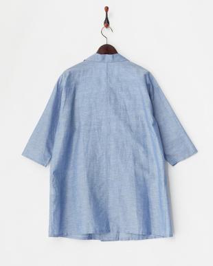 ブルー 綿麻ワイドジャケット見る