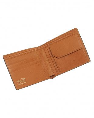 ネイビー  小銭入れ付きラインデザイン二つ折り財布見る