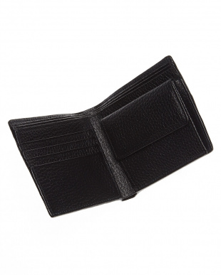 ブラック 小銭入れ付き立体ラインデザイン二つ折り財布見る